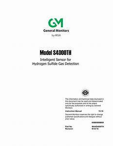 S4000th H2s Gas Detector Instruction Manual