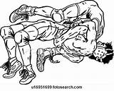 Wrestling Wrestlers Clip Ringen Wrestler Coloring Ringer Clipart Lottare Lottatore Sumo Abbildung Sketch Illustrazione Fotosearch Template Unc sketch template