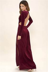 Sexy Burgundy Dress - Maxi Dress - Velvet Dress - Long Sleeve Dress - $76.00