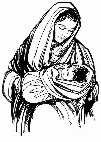 Mary Jesus Drawing Christmas Praise Getdrawings