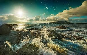 Photography, Nature, Water, Sea, Landscape, Coast, Rock, Sun, Waves, Wallpapers, Hd, Desktop, And