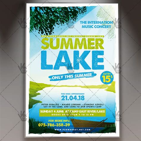 summer camp flyer template summer lake premium flyer psd template psdmarket