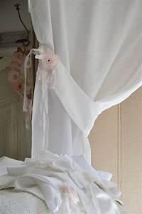 Rideaux Style Romantique : rideau lin blanc shabby chic volant froufrou dentelle ~ Melissatoandfro.com Idées de Décoration