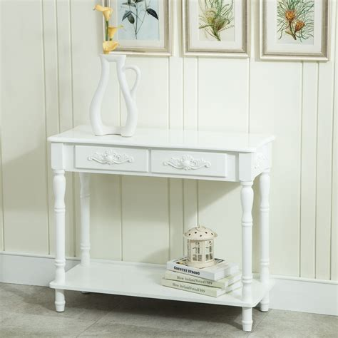 shabby chic entry table white distressed console table wood buffet entry hall