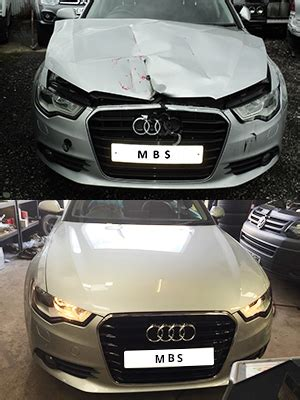 wrecked car before and after motor body services repair and salvage of accident