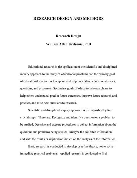 Research Design and Methodology, Dr. W.A. Kritsonis