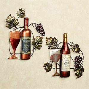 wine lovers selection metal wall art set With wine wall art