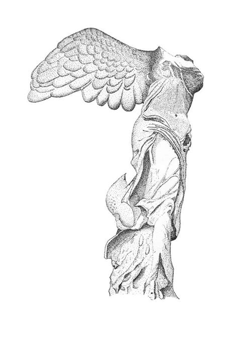 Winged Victory Of Samothrace Drawing by Steven Tomadakis