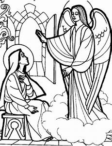 Angel Tells Mary She Is Pregnant Free Colouring Pages