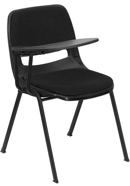 padded black ergonomic shell chair with right handed