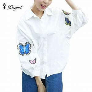 Rugod White Blouse Butterfly Embroidery Appliques Blusas ...