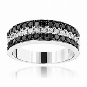 Unique 3 Row White Black Diamond Wedding Band 135ct 10K