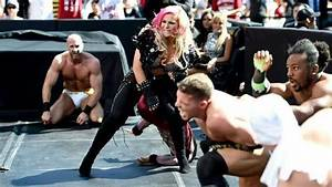Natalya Giving El Torito sharpshooter with Xavier Wood ...