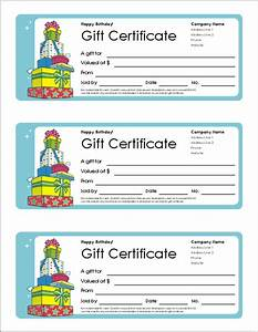 free gift certificate template and tracking log With birthday cheque template
