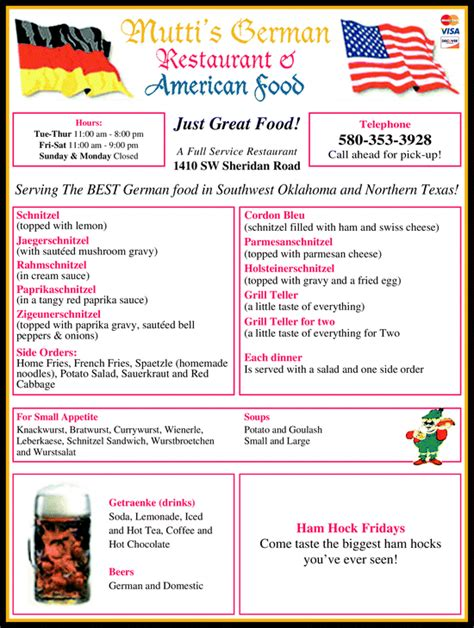 german cuisine menu mutti 39 s german restaurant lawton ok 73505 yellowbook