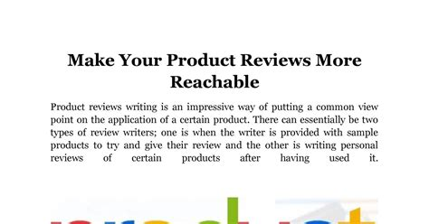 Make Your Product Reviews More Reachabledocx Docdroid