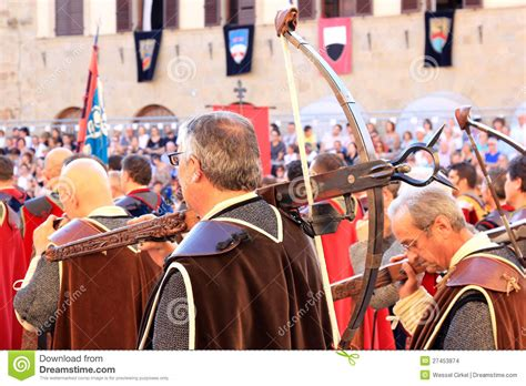 Medieval Dressed Crossbow Men Sansepolcro Italy