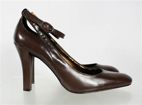Nine West Brown Leather Almond Toe Ankle Strap Pump Shoes