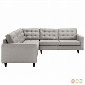 empress 3 piece button tufted upholstered sectional sofa With tufted sectional sofa