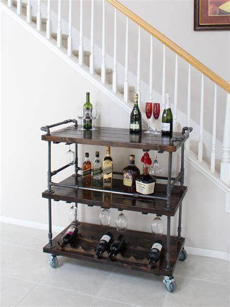 rustic bar cart industrial pipe wood bar unique bars