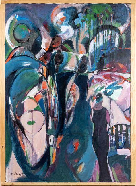 contemporary iranian abstract painting signed
