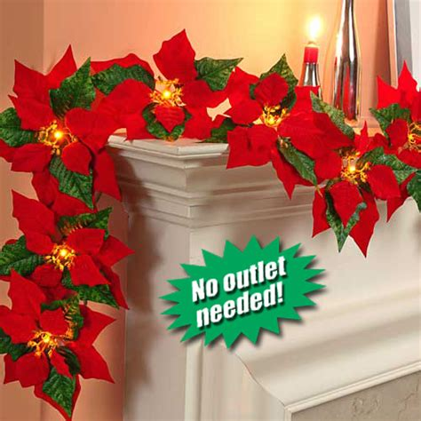 ladies gadgetscordless poinsettia garland with led lights