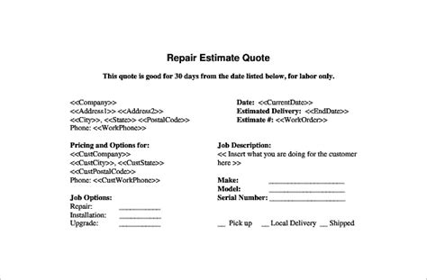 Boat Insurance Quote Sheet by 20 Repair Estimate Templates Word Excel Pdf Free