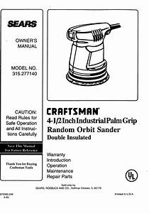 Craftsman 315277140 User Manual Orbit Sander Manuals And