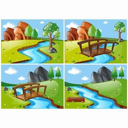 River Vector Landscape Clip Scenes Different Vectors