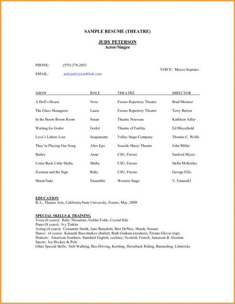 resume template for tens theatre resume template template business