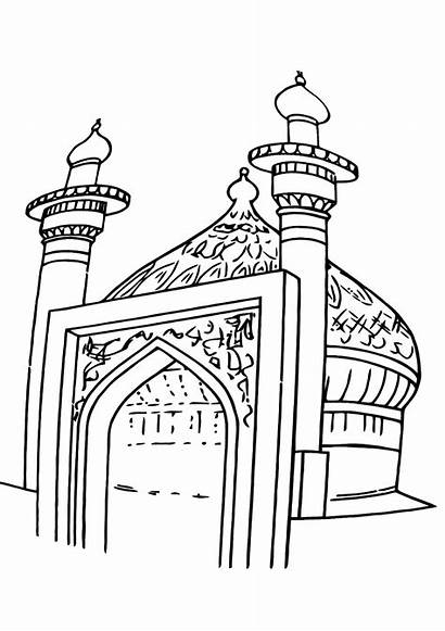 Mosque Coloring Pages Building Coloringway