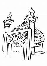 Mosque Coloring Drawing Template sketch template