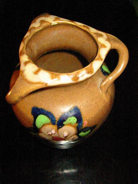 triple handles  glaze german flower pottery vase