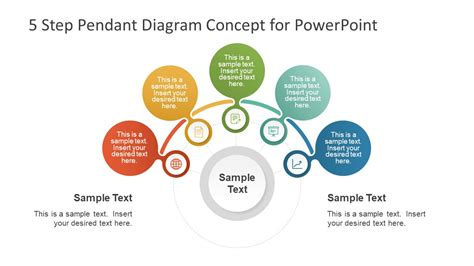 Concept Maps Templates Steps by 5 Step Pendant Diagram Concept For Powerpoint Slidemodel