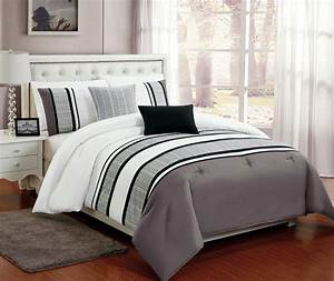 Beautiful, 5, Pc, Grey, White, And, Black, King, Comforter, Bedding, Set, With, Burnout, Lace, Design