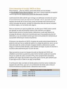 Como Desactivar La Funci U00f3n Vacs En Sony Docx