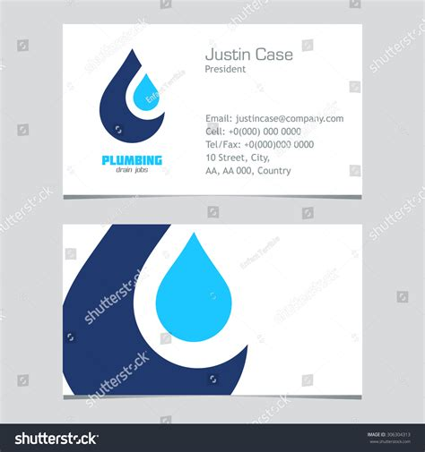 plumbing business sign business card vector stock vector