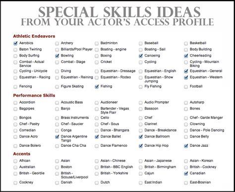 special skills acting resume best resume exle