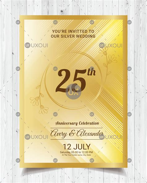 Happy wedding anniversary invitation card design with