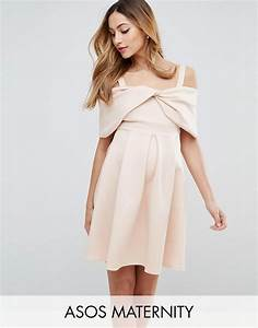 asos maternity asos maternity bow front off the shoulder With robe encolure bardot