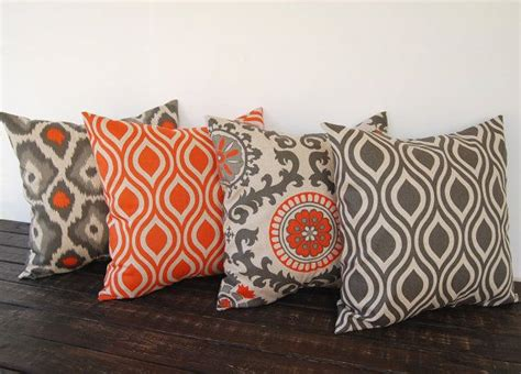 pillow covers etsy throw pillow covers 20 quot x 20 quot set of four orange gray