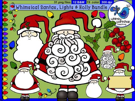 whimsical santas  christmas lights clip art