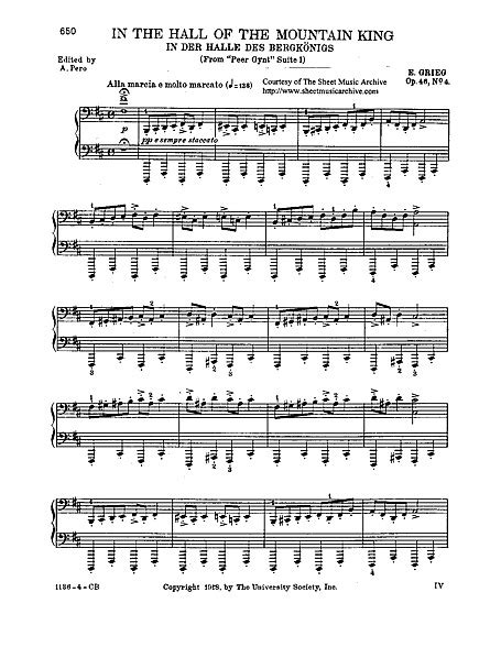 Sheet music is available for piano, guitar, alto saxophone and 24 others with 9 scorings and 3 notations in 7 genres. Peer Gynt Suite No. 1 4. In the Hall of the Mountain King (piano solo) - Piyano - Notalar ...
