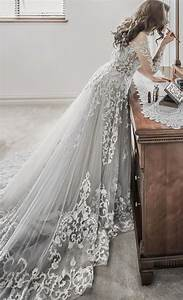 embroidered long sleeve grey undertone wedding dress With gray dress for wedding