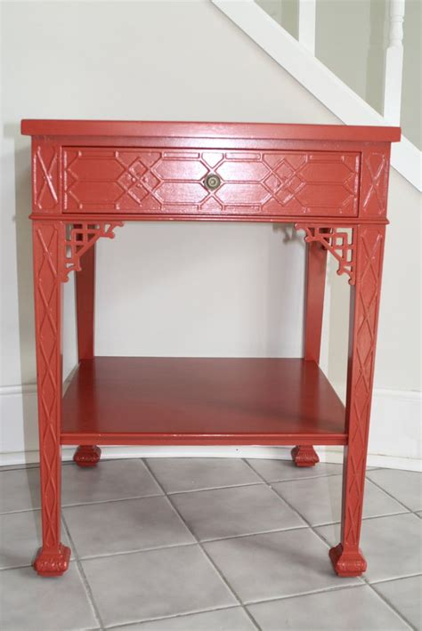 red coral table l vintage mid century fretwork lacquer painted side table