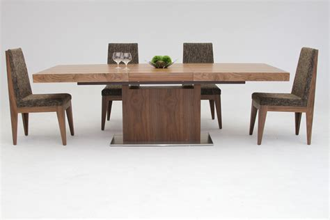 kitchen tables contemporary zenith modern walnut extendable dining table 3228