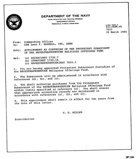 letter  commanding offier appointing cdr harrell