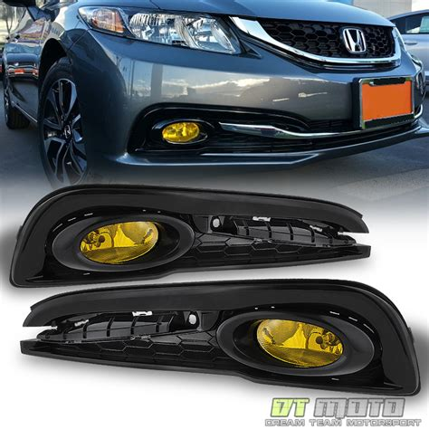 for 2013 2014 2015 honda civic 4dr sedan yellow bumper fog