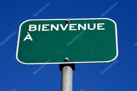 Bienvenue a french welcome to sign — Stock Photo ...