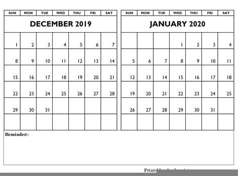 december january calendar editable december january